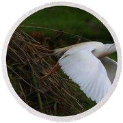 Cattle Egret Begins Flight With Nest Materials - Digitalart Round Beach Towel