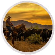 Cattle Drive 41 Round Beach Towel