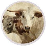 Cattle Steers Round Beach Towel