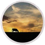 Cattle Sunset Silhouette Round Beach Towel