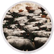 Cattle With Snow On Their Backs Round Beach Towel