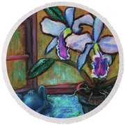 Cattleya Orchid And Frog By The Window Round Beach Towel
