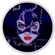 Catwoman Michelle Pfeiffer Burton Round Beach Towel