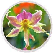 Caucaea Rhodosticta Orchid Round Beach Towel