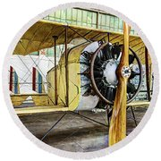 Caudron G3 Propeller And Cockpit - Vintage Round Beach Towel