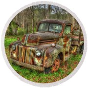 Caught Behind 1947 Ford Stakebed Pickup Truck Art Round Beach Towel