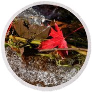 Caught In The Waterfall Round Beach Towel