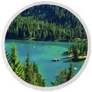 Caumasee Lake Switzerland Round Beach Towel