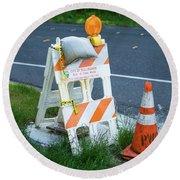 Caution, Road Work Round Beach Towel