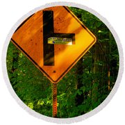Caution T Junction Road Sign Round Beach Towel