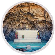Cave Altar Setting Round Beach Towel