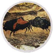 Cave Art: Bison Round Beach Towel