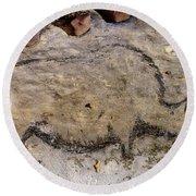 Cave Art: Rhinoceros Round Beach Towel