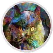 Cave Cat Round Beach Towel