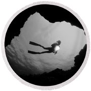 Cave Diver - Bw Round Beach Towel