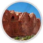 Cave Formation Arches National Park Round Beach Towel