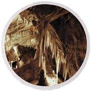 Cave Interior Round Beach Towel