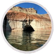 Cave Opening At Lake Powell Round Beach Towel
