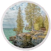 Cave Point Bluffs 2 Round Beach Towel