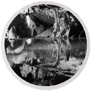Cave Reflection 2 Round Beach Towel