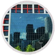Cbc Building Tv Screen Of Downtown Highrises Round Beach Towel