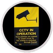 Cctv Warning Sign Round Beach Towel