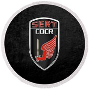 C.d.c.r Special Emergency Response Team - S.e.r.t. Patch Over Black Round Beach Towel