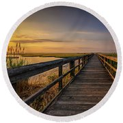 Cedar Beach Pier, Long Island New York Round Beach Towel
