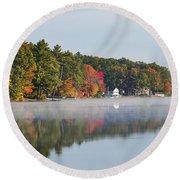 Cedar Lake Reflection Round Beach Towel