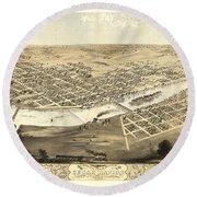 Cedar Rapids Iowa 1868 Round Beach Towel