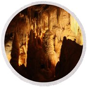 Ceiling Formations - Cave Round Beach Towel