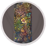 Celebration Night - 1/2 Diptych  Round Beach Towel