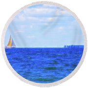 Celestial Skies Sailing The Blue Round Beach Towel