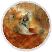 Celestial Wolves 2 Round Beach Towel