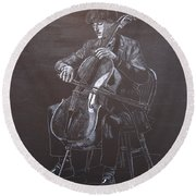 Cello Player Round Beach Towel