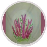 Celosia Dragon's Breath Acrylic Painting By Artist Rosie Foshee Round Beach Towel