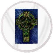Celtic Cross - Harp Round Beach Towel