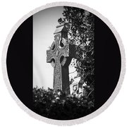 Celtic Cross At Fuerty Cemetery Roscommon Ireland Round Beach Towel