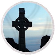 Celtic Cross At Sunset Donegal Ireland Round Beach Towel