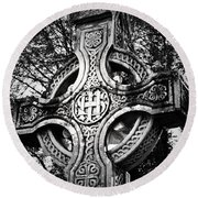 Celtic Cross Detail Killarney Ireland Round Beach Towel