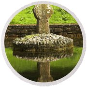 Ancient Celtic Cross At St Patrick Well Round Beach Towel