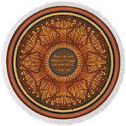 Celtic Dragonfly Mandala In Orange And Brown Round Beach Towel