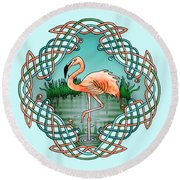 Celtic Flamingo Art Round Beach Towel