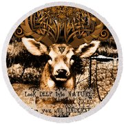 Celtic Stag Round Beach Towel