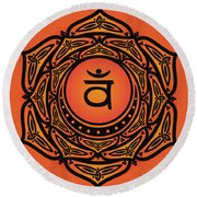 Celtic Tribal Sacral Chakra Round Beach Towel