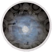 Celtic Triple Moon Goddess Mandala Round Beach Towel
