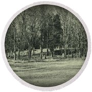Cemetery In The Woods Round Beach Towel