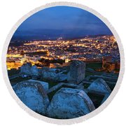 Cemetery Overlooking Fes, Morocco Round Beach Towel