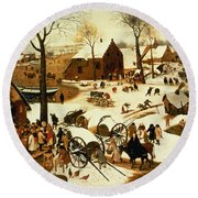 Census At Bethlehem Round Beach Towel by Pieter the Elder Bruegel