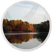 Centennial Lake Autumn - Fall Dressing Round Beach Towel